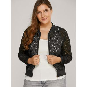 Hollow Out Lace Bomber Jacket -