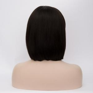 Prevailing Medium Side Bang Straight Synthetic Wig - BLACK BROWN