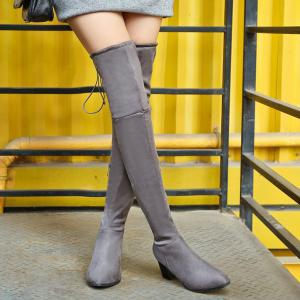 Flock Chunky Heel Thigh High Boots -