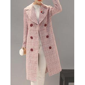 Double-Breasted Checked Vinatge Coat -