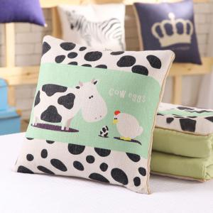 Cartoon Sofa Office Nap Air Condition Two Use Pillow Blanket -