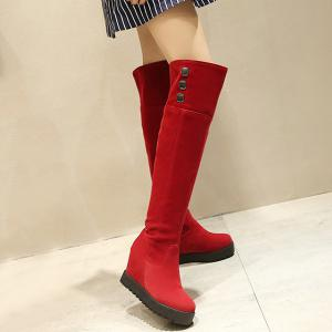 Hidden Wedge Flock Knee-High Boots -
