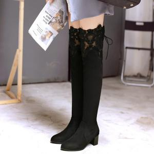Lace Spliced Chunky Heel Pointed Toe Thigh Boots - BLACK 39