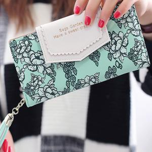 Flower Print Tassels Clutch Wallet -