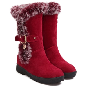 Buckle Faux Fur Increased Internal Mid-Calf Boots -