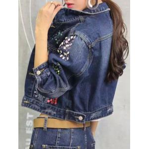 Sequined Personality Cropped Thin Jean Jacket - DENIM BLUE 2XL