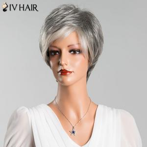 Multicolor Short Fluffy Straight Side Bang Siv Human Hair Wig - COLORMIX