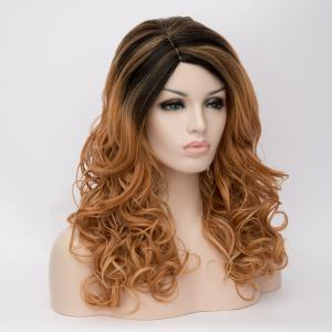 Long Highlight Side Parting Wavy Synthetic Wig -