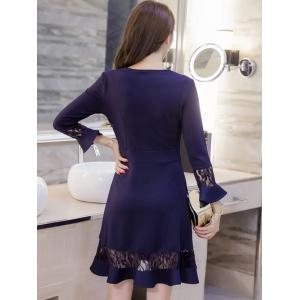 Lace Spliced Bell Sleeves Flare Dress - NAVY BLUE L