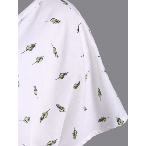 Refreshing V-Neck Short Sleeve Leaf Print Plus Size Women's Blouse -