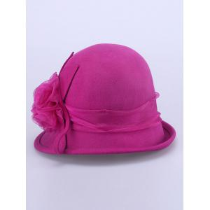 Lace Flower Band Embellished 20s Cloche Hat - ROSE RED