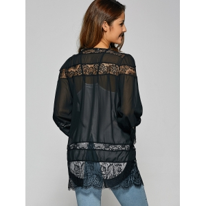 Lace Spliced Cut Out Kimono -