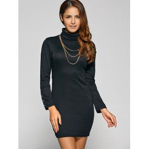 Belted High Neck Long Sleeve Bodycon Dress - BLACK L