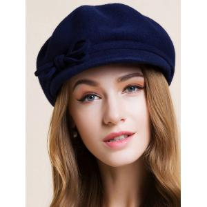 Double Bowknot Lace-Up Embellished Newsboy Hat -