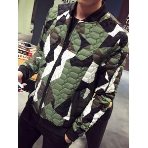 Stand Collar Plus Size Color Block Splicing Zip-Up Cotton-Padded Jacket - GREEN 4XL