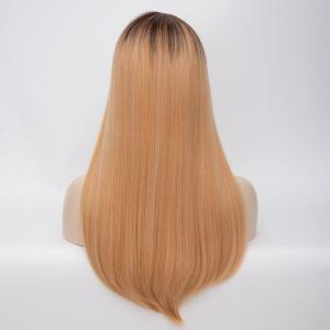 Ombre Long Side Parting Tail Adduction Straight Synthetic Wig - COLORMIX