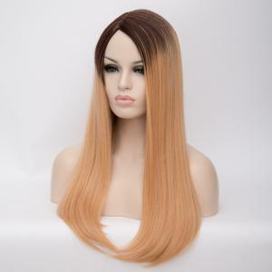 Ombre Long Side Parting Tail Adduction Straight Synthetic Wig -