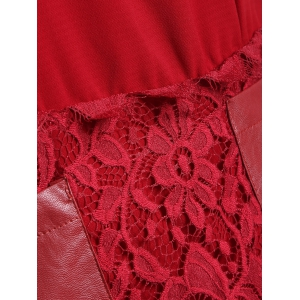 Pocket Lace Splicing Faux Leather Panel Dress -