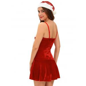 Christmas Cosplay Costume Lace Up Velvet Cami Dress -