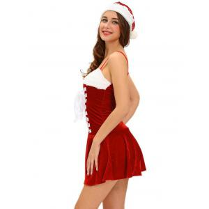 Christmas Lace Up Velvet Cami Dress - Rouge TAILLE MOYENNE