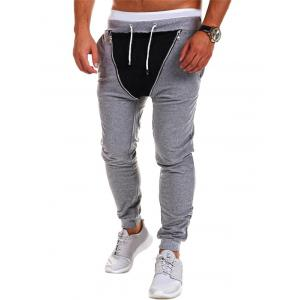 Zipper Embellished Lace-Up Beam Feet Jogger Pants -