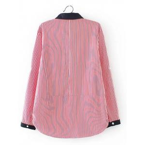 Plus Size Striped Embroidered Shirt -