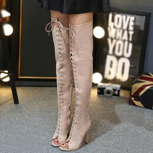 Stiletto Heel Lace-Up Peep Toe Thigh Boots -