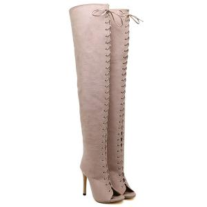 Stiletto Heel Lace-Up Peep Toe Thigh Boots - APRICOT 40
