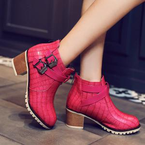 Embossed Plaid Pattern Double Buckle Ankle Boots - LIGHT RED 40