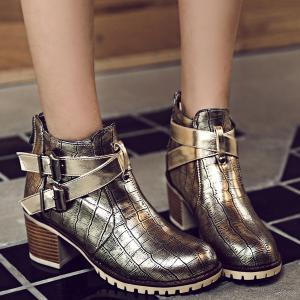 Embossed Plaid Pattern Double Buckle Ankle Boots - GOLDEN 39