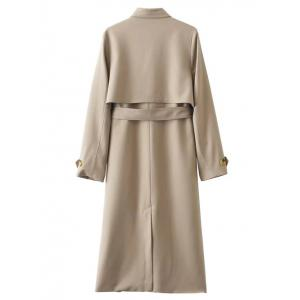 Button Up Belted Longline Trench Coat -