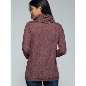 Cowl Neck Heather Drawstring Sweatshirt -