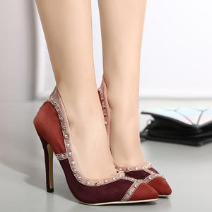Suede Rivet Pointed Toe Pumps - WINE RED 40