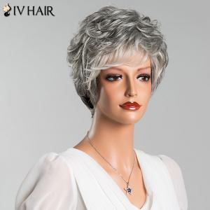 Mixed Color Short Fluffy Slightly Curled Side Bang Siv Human Hair Wig -