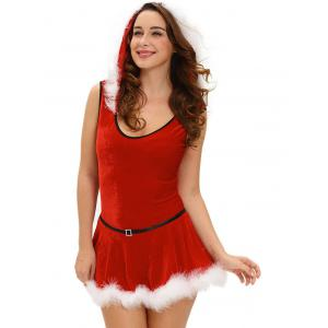 Christmas Hooded Jumpsuit With Skirt -