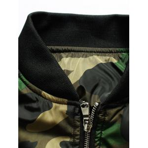 Stand Collar Plus Size Camouflage Zip-Up Cotton-Padded Jacket - GREEN 5XL
