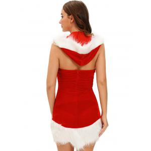 Christmas Cut Out Velvet Dress - RED ONE SIZE