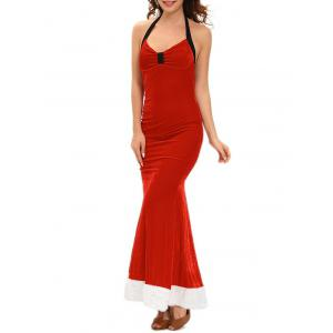 Christmas Backless Velvet Prom Dress with Halter Neckline -