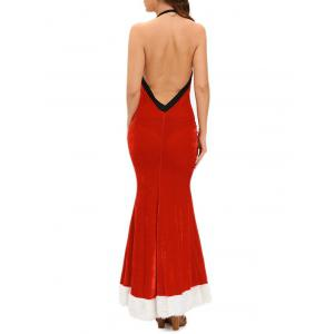 Christmas Backless Velvet Prom Dress with Halter Neckline - RED ONE SIZE