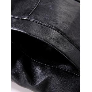 Turn-Down Collar Single-Breasted PU-Leather Fleece Jacket -