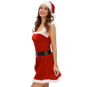 Christmas Cosplay Belted Cut Out Velvet Dress Costume -