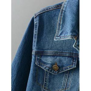 Plus Size Buttoned Fitted Denim Jacket -