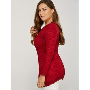 Long Sleeve Thicken Lace Blouse - RED 2XL