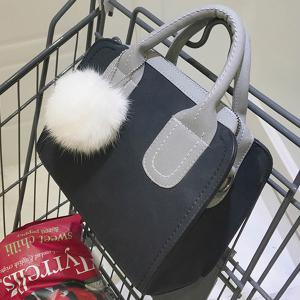 Pompon Stitching Color Block Handbag -