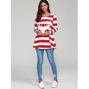 Elk Head and Striped T-Shirt - RED WITH WHITE M