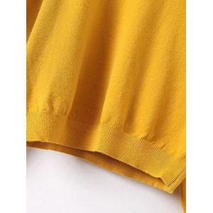 Lace Patchwork Puff Sleeves Knitwear - YOLK YELLOW ONE SIZE