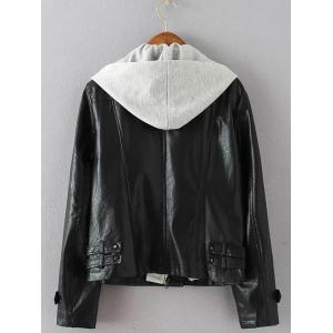 Plus Size Biker Jacket with Hood -