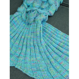 Warmth Hollow Out Design Knitted Mermaid Tail Blanket - LAKE BLUE