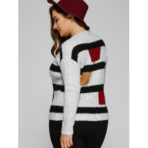 Jewel Neck Plus Size Color Block Sweater - WHITE ONE SIZE