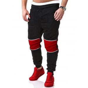 Color Splicing Drawstring Beam Feet Jogger Pants - BLACK 2XL